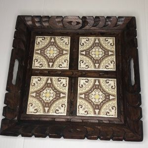 Vintage carved wood tray with tile inlay